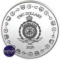 Revers de la pièce NIUE 2020 - 2$ NZD PAC-MAN™ Couleur - 1oz argent