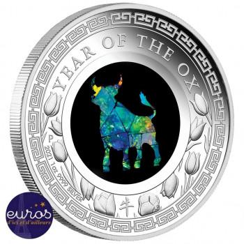AUSTRALIE 2021 - 1$ AUD - Année du Boeuf - 1oz argent - Série Opale (6)