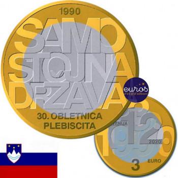 3 euros SLOVENIE 2020 - Indépendance de la Slovénie - UNC