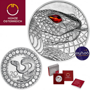 20 euros AUTRICHE 2021 - Le Regard du serpent - Argent 925‰ et cristal de Swarovski - 1