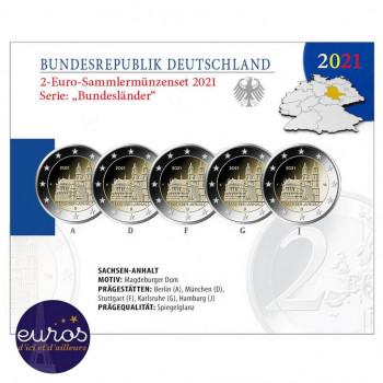 Coffret / Set BE 5 x 2 euros commémoratives ALLEMAGNE 2021 - Cathédrale de Magdebourg - ADFGJ - Belle Epreuve