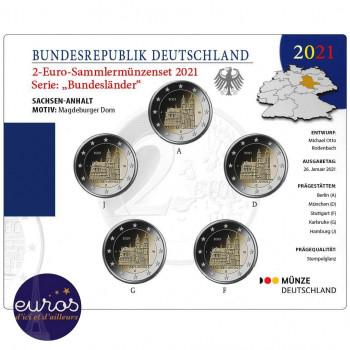 Set BU 5 x 2 euros commémoratives ALLEMAGNE 2021 - Cathédrale de Magdebourg - ADFGJ - Brillant Universel
