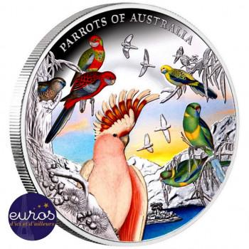 NIUE 2021 - 10$ NZD - Perroquets d'Australie - 5oz argent 999,99‰ - Couleur, Belle Epreuve