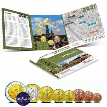 Set BU PAYS-BAS 2021 - Utrecht - Série 8 pièces 1 cent à 2 euros 2021 - Brillant Universel