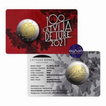 Coincard 2 euros commémorative LETTONIE 2021 - 100 ans Reconnaissance République Lettonie - BU