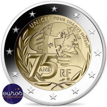 Rouleau 25 x 2 euros commémoratives FRANCE 2021 - 75 ans de l'UNICEF - UNC