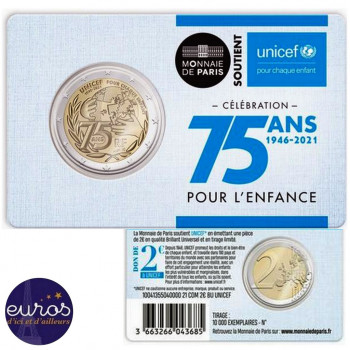 2 euros commémorative FRANCE 2021 - 75 ans de l'UNICEF - Brillant Universel