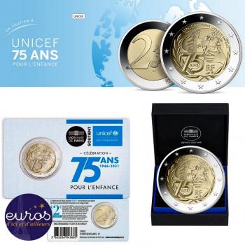 Trio 2 euros commémoratives FRANCE 2021 - 75 ans de l'UNICEF - UNC + BU + BE