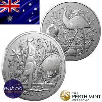 AUSTRALIE 2021 - 1$ AUD - Kangourou - Armoiries de l'Australie (1) - 1 oz argent 999,99‰ - avers et revers