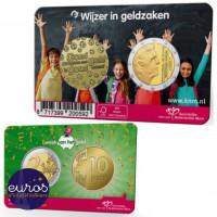 Coincard 2€ + médaille PAYS-BAS 2021 - Anniversaire de la semaine nationale de la monnaie - Avers et revers