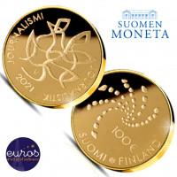 100 euros Finlande 2021 Or Journalisme avec ou sans numérotation