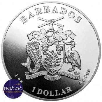 Revers de la pièce de 1$ BBD émise par l'Île de Barbade où sont dessinées, les armoiries de la Barbade.