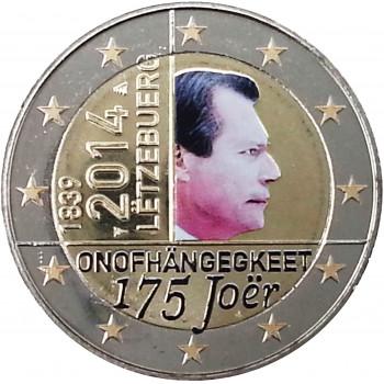 2 euros commémorative LUXEMBOURG 2014 colorisée - Indépendance du Luxembourg