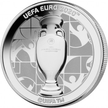 Avers de la pièce GIBRALTAR 2020 représentant le trophée  de la coupe de l'UEFA 2020™
