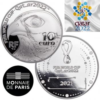 Avers et revers de la pièce de 10€ FRANCE 2021 - Coupe du Monde de Foot au Qatar