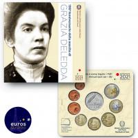 Set BU ITALIE 2021 - Série 1 cent à 2 euros + 5€ Argent Grazia Deledda - Brillant Universel