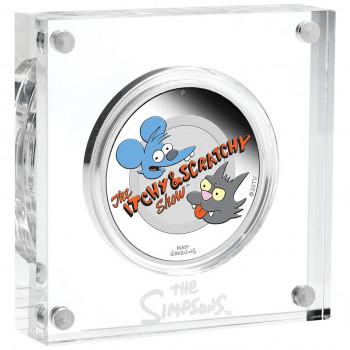TUVALU 2021 - 1$ TVD - Les Simpsons™, Itchy & Scratchy™ - Couleur - Belle Épreuve sous coffret en pexiglass