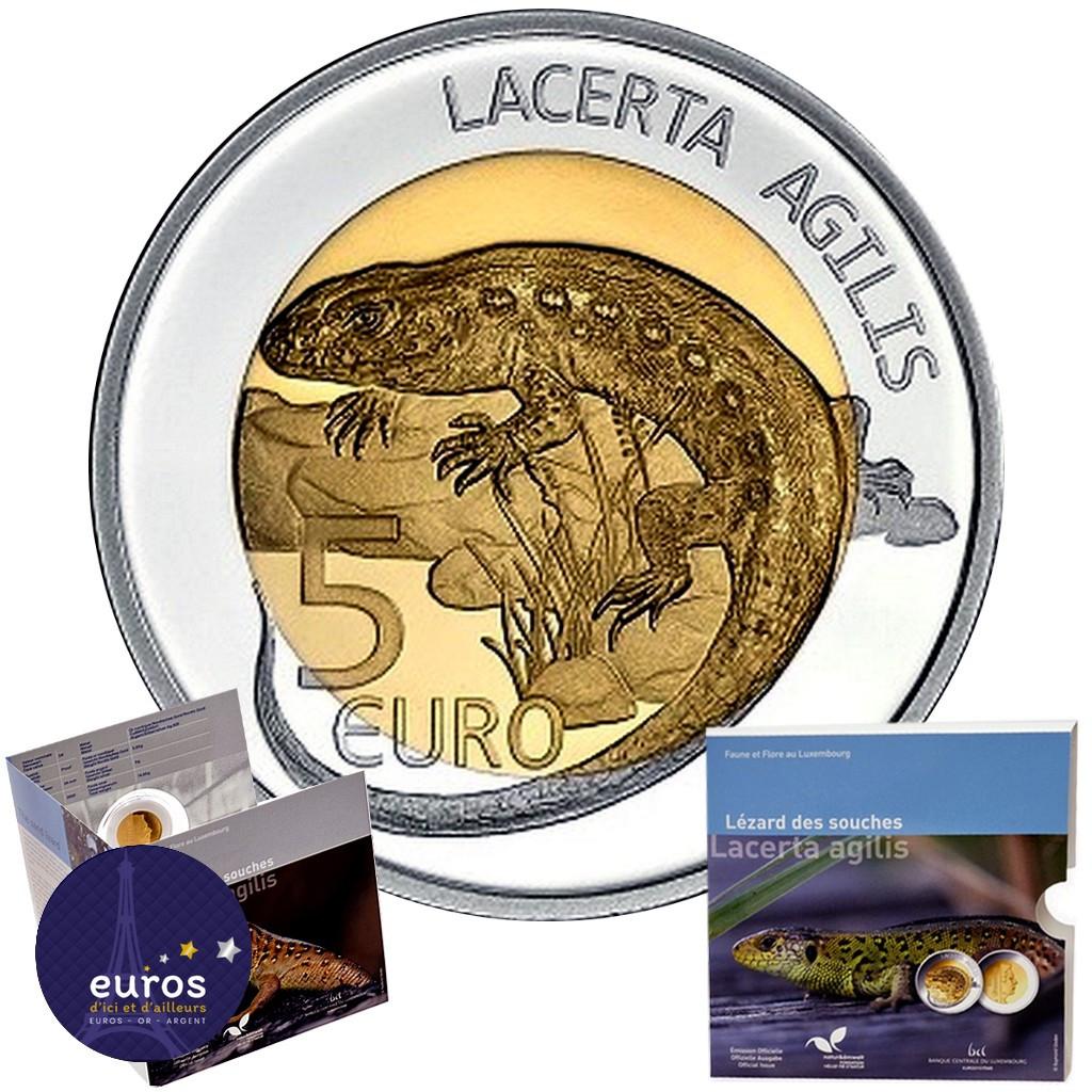 5 euros commémorative LUXEMBOURG 2021 - Lézard des souches (Lacerta Agilis) - Argent et Or Nordique