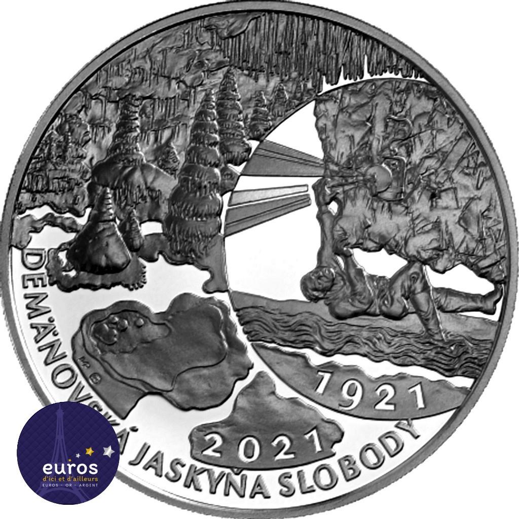 Avers de la pièce de 20 euros SLOVAQUIE 2021 - Zone Paysagère Protégée des Montagnes - Grotte de la Liberté de Demänovská - BU