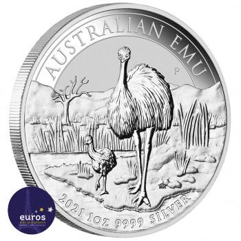 Avers de la pièce AUSTRALIE 2021 - 1$ AUD - L'Emeu - 1oz argent - Bullion