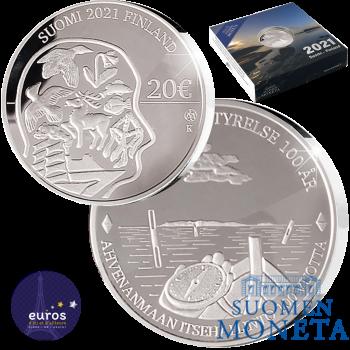 20 euros Finlande 2021 - 100 ans de la Loi d'autonomie d'Aland - Argent 925‰