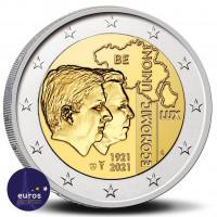 Avers de la pièce de 2 euros BELGIQUE 2021 - 100 ans de l'Union économique belgo-luxembourgeoise (UEBL) - BU
