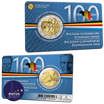 Coincard 2 euros BELGIQUE 2021 - 100 ans de l'Union économique belgo-luxembourgeoise (UEBL) - BU