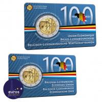 2 x Coincard 2 euros BELGIQUE 2021 - Version Française et Flamande - Union économique belgo-luxembourgeoise (UEBL) - BU