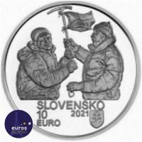 Revers de la pièce de 10 euros SLOVAQUIE 2021 - Alpinistes Slovaques à huit-mille mètres d'altitude - Argent 900‰ Belle Epreuve