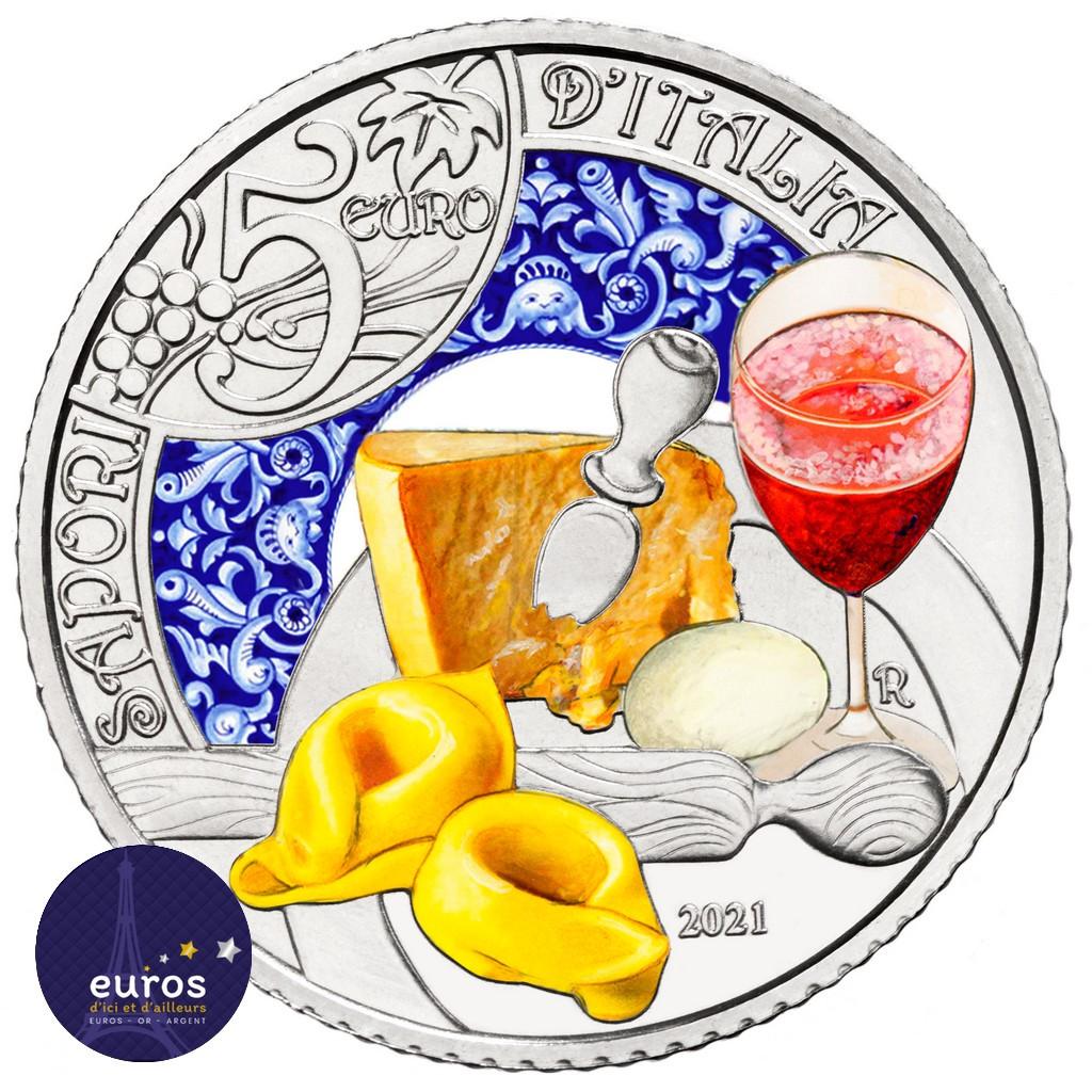 Revers de la pièce de 5 euros commémorative ITALIE 2021 - Gastronomie Italienne - Lambrusco et Tortellini