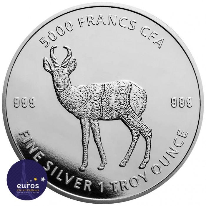 Avers de la pièce TCHAD 2021 - Mandala Antilope - Mandala Wildlife - 1oz argent n° 6