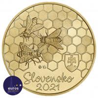 Avers de la pièce de 5 euros commémorative SLOVAQUIE 2021 - Abeille a Miel - UNC