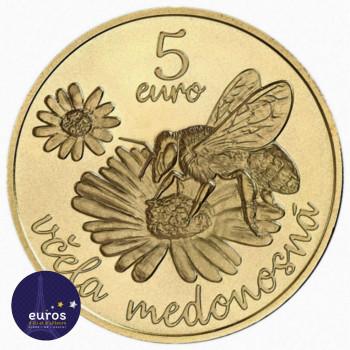 Revers de la pièce de 5 euros commémorative SLOVAQUIE 2021 - Abeille a Miel - UNC