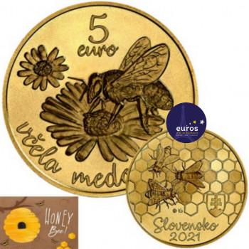 Avers et revers de la pièce de 5 euros commémorative SLOVAQUIE 2021 - Abeille à Miel - UNC