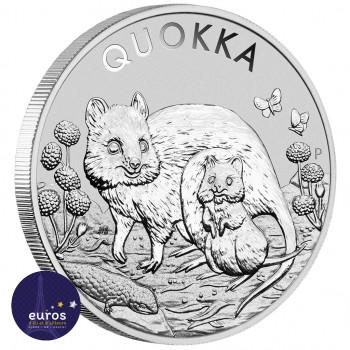 Avers de la pièce d'une once en argentAUSTRALIE 2021 - 1$ AUD - Le Quokka - 1oz argent - Bullion