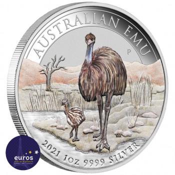 Avers de la pièce AUSTRALIE 2021 - 1$ AUD - Emeu Australien - Salon de l'ANDA - Argent 1oz 999,9 ‰ colorisé