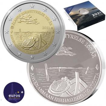 2€ et 20 euros Finlande 2021 - 100 ans de la Loi d'autonomie d'Aland - Argent 925‰ et Maillechort Cupronickel