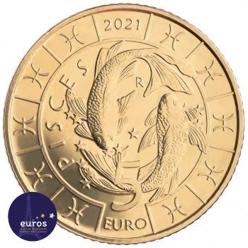 Revers de la pièce de 5 euros commémorative SAINT MARIN 2021 - Horoscope - Poisson