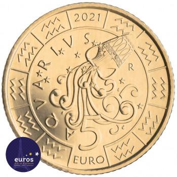 Revers de la pièce de 5 euros commémorative SAINT MARIN 2021 - Horoscope - Verseau