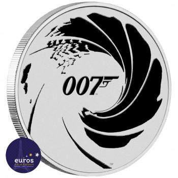 Avers de la pièce TUVALU 2022 - 1$ TVD - James Bond™ 007 - Logo colorisé noir - Argent 999‰