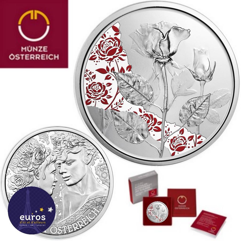 Pièce de 10 euros commémorative AUTRICHE 2021 - Langage des Fleur, la Rose Argent - Belle Épreuve