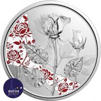 Avers de la Pièce de 10 euros commémorative AUTRICHE 2021 - Langage des Fleur, la Rose Argent - Belle Épreuve