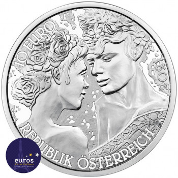 Revers de la Pièce de 10 euros commémorative AUTRICHE 2021 - Langage des Fleur, la Rose Argent - Belle Épreuve