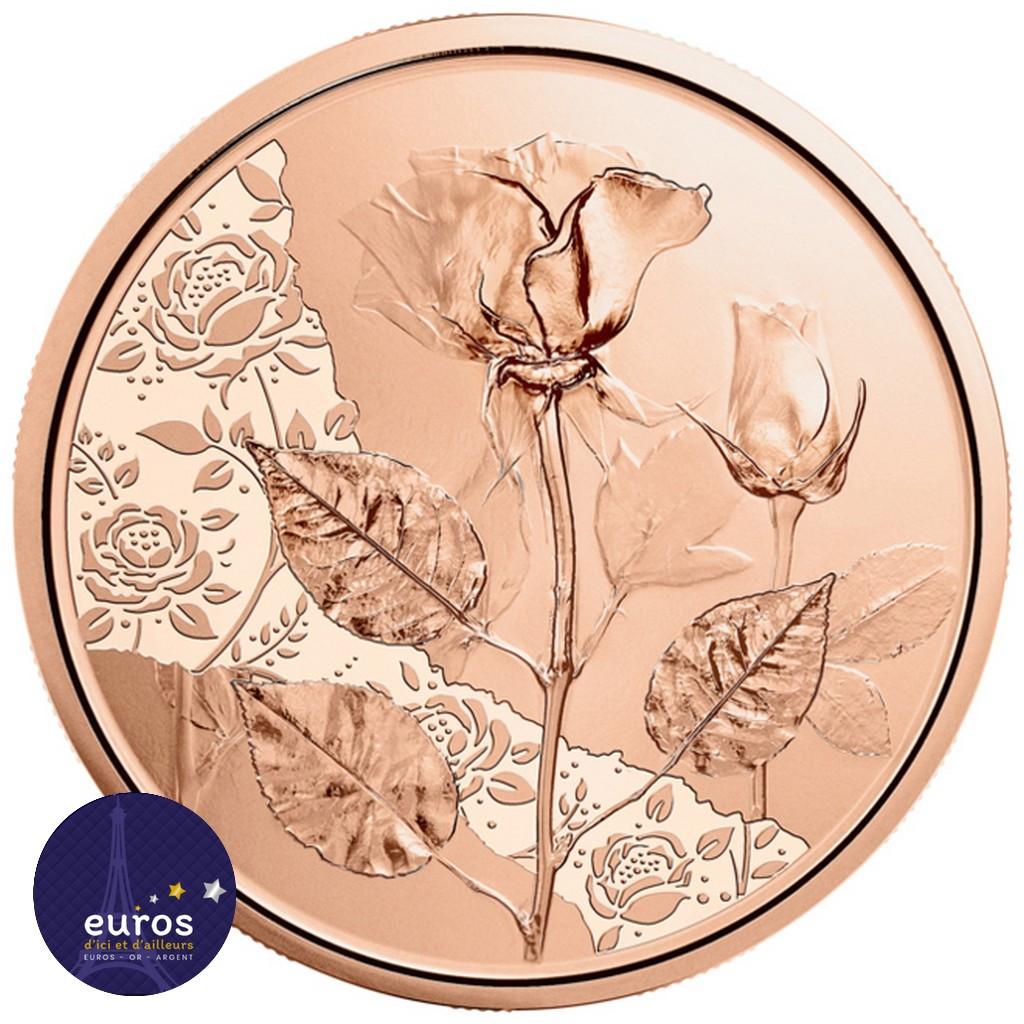Avers de la pièce en cuivre de 10 euros commémorative AUTRICHE 2021 - Langage des Fleurs, La Rose