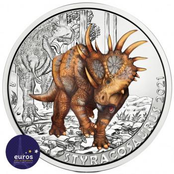 Avers de la pièce de 3 euros AUTRICHE 2021 - Styracosaurus Albertensis - Série Dinosaures