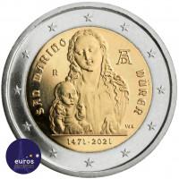 Avers de la pièce de 2 euros commémorative SAINT MARIN 2021 - Naissance d'Albrecht Dürer - BU