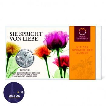 Blister 10 euros commémorative AUTRICHE 2021 - Langage des Fleurs : Rose (1/7) - Argent BU 925‰