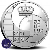 Revers de la Médaille du BENELUX 2001 à 2021 - 20 ans d'adieu aux monnaies nationales du Benelux