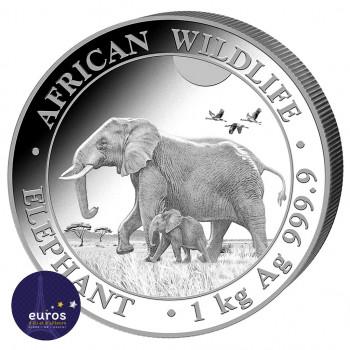 Avers de la pièce SOMALIE 2022 - 1 kilo argent - Elephant, la Faune Africaine - African Wildlife
