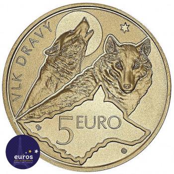 Revers de la pièce de 5 euros commémorative SLOVAQUIE 2021 - Loup - UNC